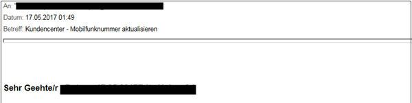 Phishing-Mail mobileTAN